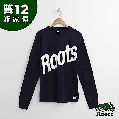 Roots 斜體字標長袖T恤- 藍