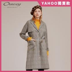 OUWEY歐薇 復古格紋大衣外套(咖)