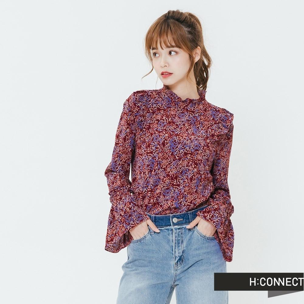 H:CONNECT 韓國品牌 女裝-小立領雪紡印花上衣-紅