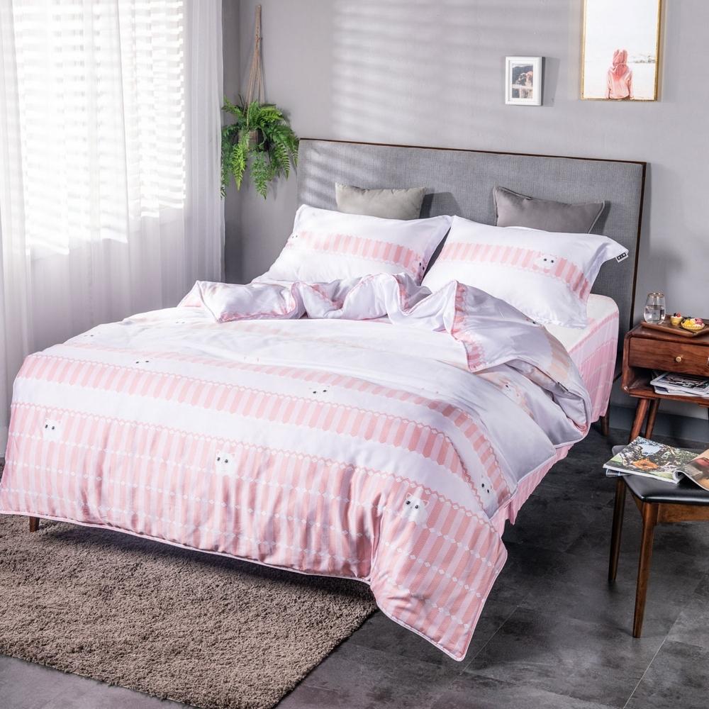 夢工場貓的夢想40支紗萊賽爾天絲四件式床罩兩用被-雙人
