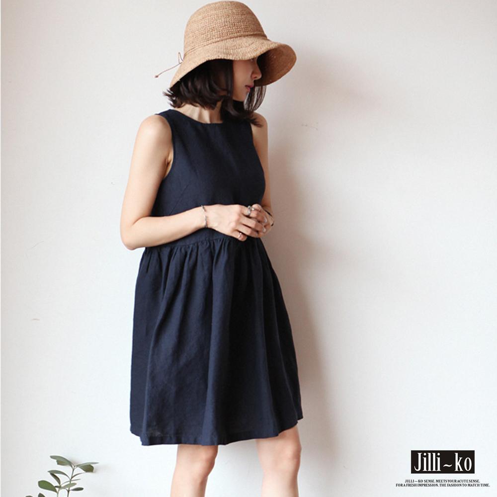 JILLI-KO 寬鬆棉麻娃娃背心裙- 深藍/粉紅