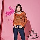 Hana+花木馬 百搭款前短後長條紋印花微寬粗針織必備造型上衣-橘(共3色)