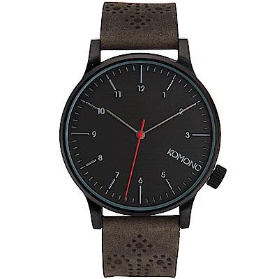 KOMONO Winston Brogue 腕錶-古著黑壓花/41mm