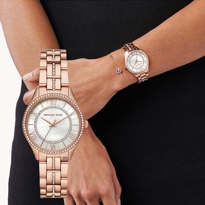Michael Kors Lauryn 優雅晶鑽女錶 套錶-33mm MK1035