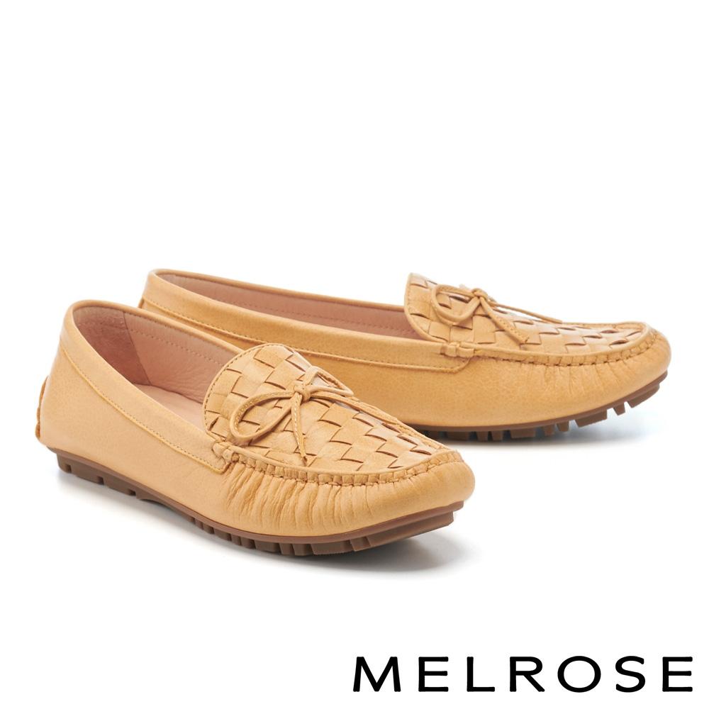 平底鞋 MELROSE 純色質感編織蝴蝶結全真皮樂福平底鞋-黃