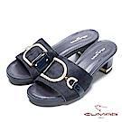 CUMAR璀璨閃耀-異材質一字帶粗跟涼拖鞋