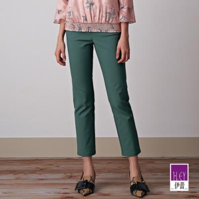 ILEY伊蕾 純色燙鑽百搭彈性直筒褲(綠/咖)