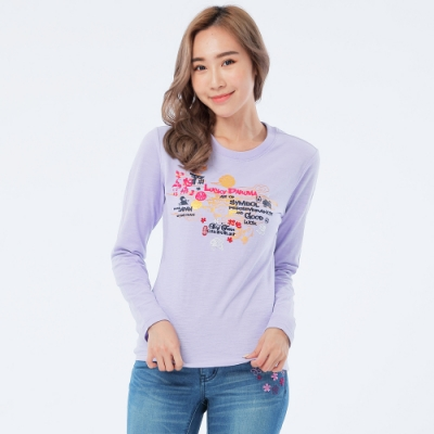 BIG TRAIN 和風福運達摩長袖女T-女-淺紫