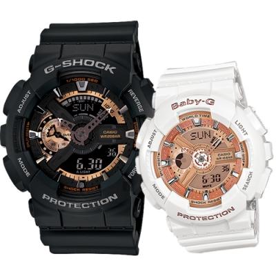 CASIO 卡西歐 重機情侶手錶 對錶(GA-110RG-1A+BA-110-7A1)
