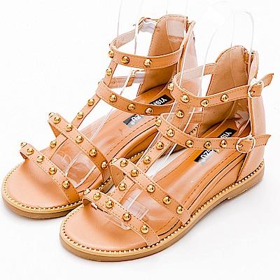 River&Moon涼鞋-金屬鉚釘釦羅馬繫帶楔型涼鞋-粉棕