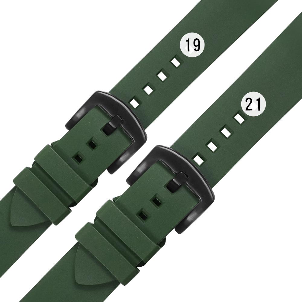 Watchband / 19.21 mm / 各品牌通用 快拆錶耳 輕盈舒適 矽膠錶帶 鍍黑不鏽鋼扣頭-綠色