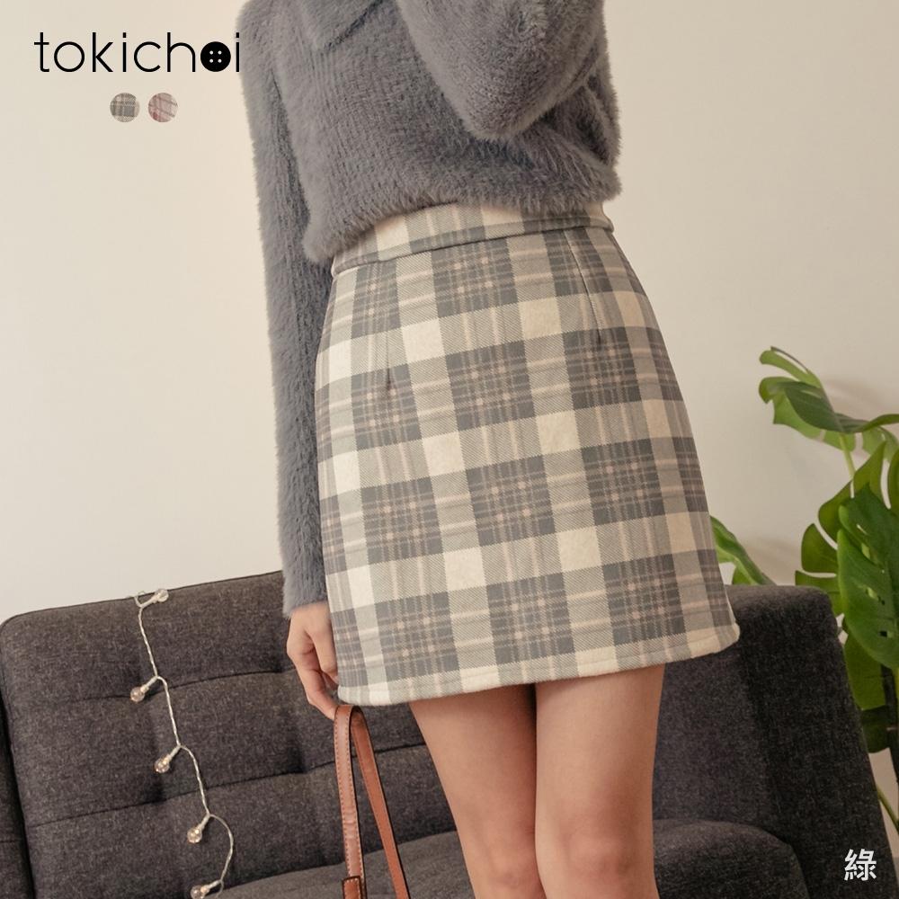 東京著衣 甜美氣質格紋磨毛A字包臀短裙-S.M.L