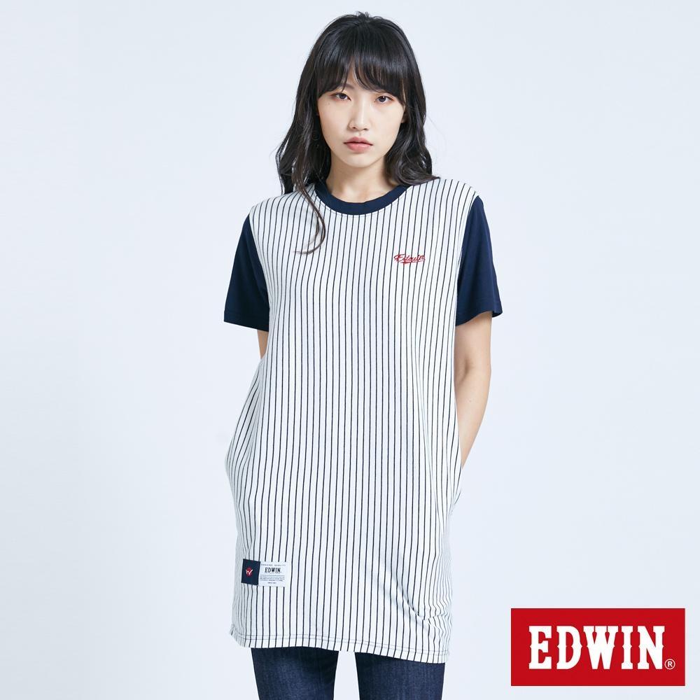 EDWIN 復古棒球直紋 長版短袖T恤-女-丈青