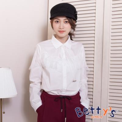 betty's貝蒂思 率性領口蕾絲綁結襯衫(白色)