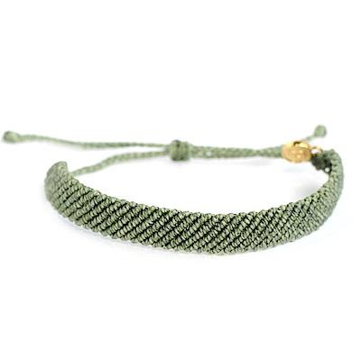 Pura Vida 美國手工 FLAT BRAIDED 青草綠超寬版編織手鍊