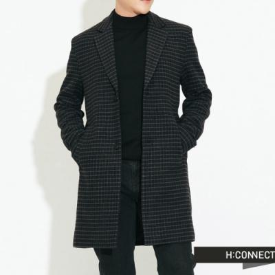 【周慶限量款】H:CONNECT 韓國品牌 男裝-長板格紋羊毛大衣-灰