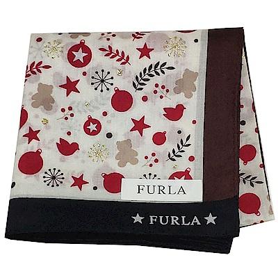 FURLA 歡樂氛圍雪花圖騰字母LOGO帕領巾(米色系底)