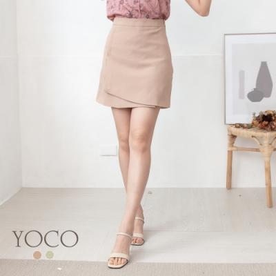 東京著衣-YOCO 微正式OL必敗前片交疊A字短裙-S.M.L(共二色)