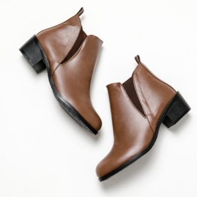 River&Moon短靴-極簡素面側鬆緊微尖頭短靴-咖