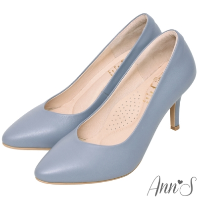Ann'S舒適療癒系-V型美腿棉羊皮尖頭跟鞋-淺藍