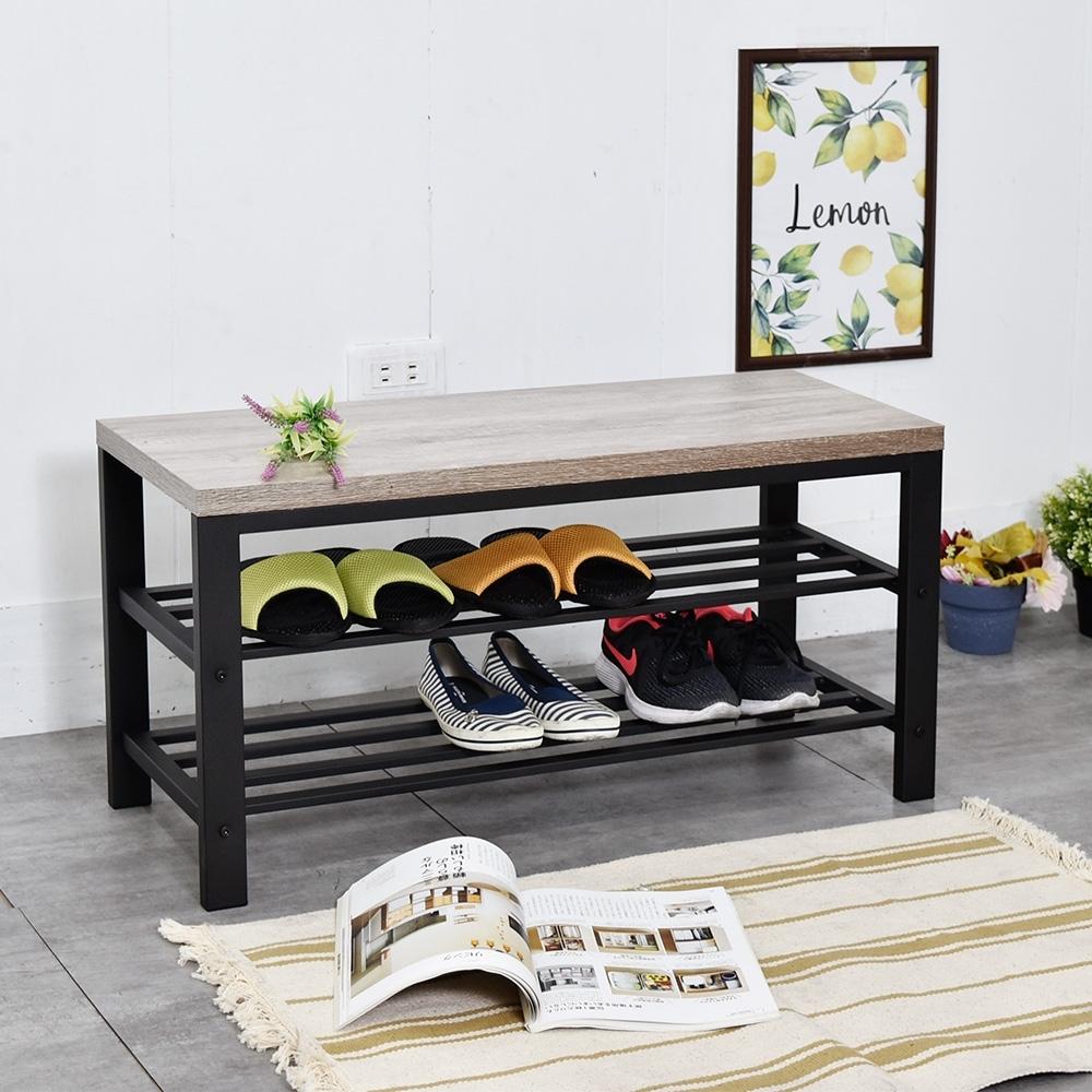 凱堡 淺木紋穿鞋椅 80x30x40cm 收納櫃/換鞋凳/穿鞋凳/玄關