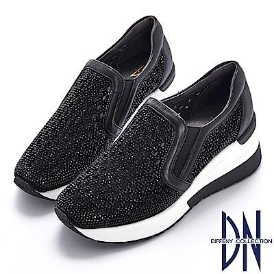 DN 運動時尚 菱型鏤空厚底休閒鞋-黑