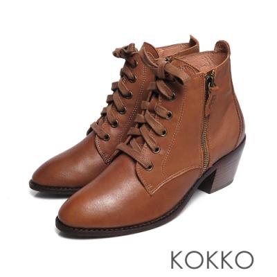 KOKKO -交織的無限綁帶牛皮粗跟短靴-南瓜棕