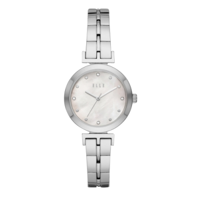 ELLE  ODEON系列晶鑽貝殼面腕錶-白X銀(ELL21009)