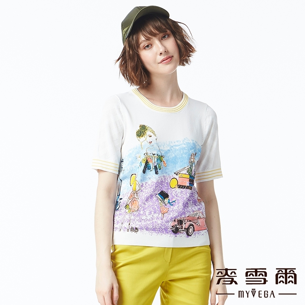 麥雪爾 滾邊織紋抽象染布人畫針織衫