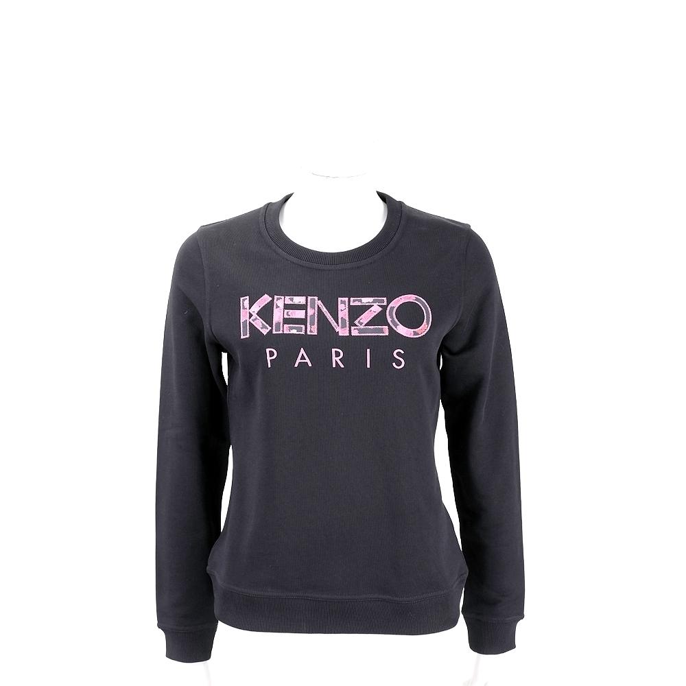 KENZO 印花補丁字母黑色運動衫(女款)