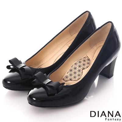 DIANA 超厚切LADY款~蝴蝶結織帶滾邊漆皮跟鞋-黑
