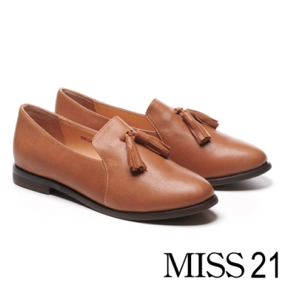 低跟鞋 MISS 21 復古學院風流蘇造型全真皮樂福低跟鞋-咖