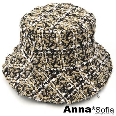 AnnaSofia 亮片混織毛呢 毛邊軟式漁夫帽盆帽(黃黑系)