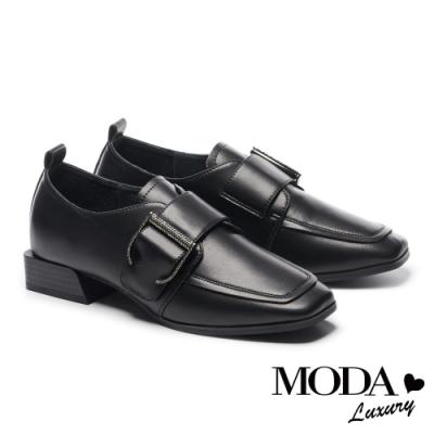 低跟鞋 MODA Luxury 個性低調水鑽大飾釦方頭低跟鞋-黑