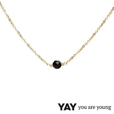 YAY You Are Young 法國品牌 Stella 黑曜石項鍊 單層款 金色