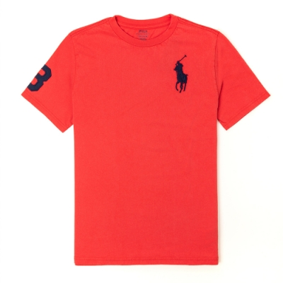Polo Ralph Lauren 經典電繡大馬圓領素面短袖T恤(青年款)-紅色