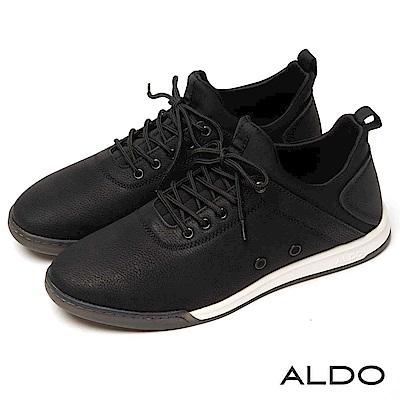 ALDO 原色幾何雙車線透氣孔綁帶式運動休閒男鞋~尊爵黑色