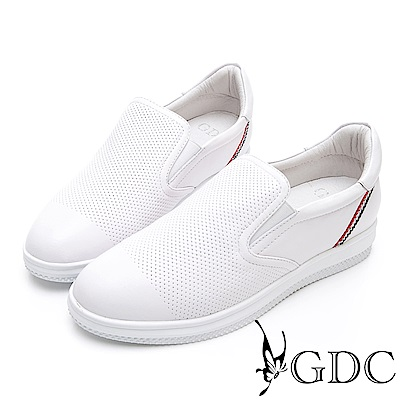 GDC-真皮素面基本簡約水鑽舒適休閒鞋-白色
