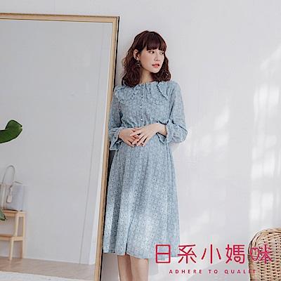 日系小媽咪孕婦裝-孕婦裝~甜美公主領珍珠釦毛料蕾絲洋裝