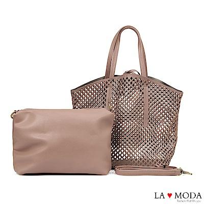 La Moda 經典設計款圓形沖孔大容量肩背斜背子母托特包(粉紫)
