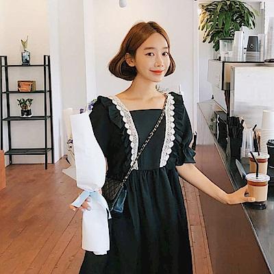 【AIRKOREA正韓空運】經典花邊連衣裙-黑