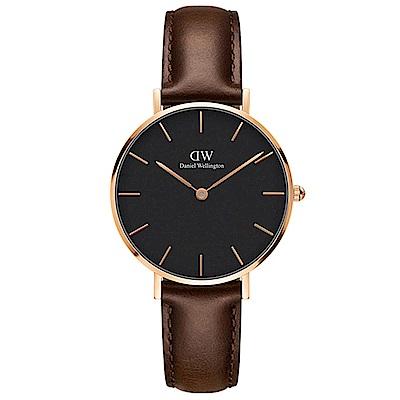 DW手錶 官方旗艦店 32mm玫瑰金框 Classic Petite 深棕真皮皮革手錶