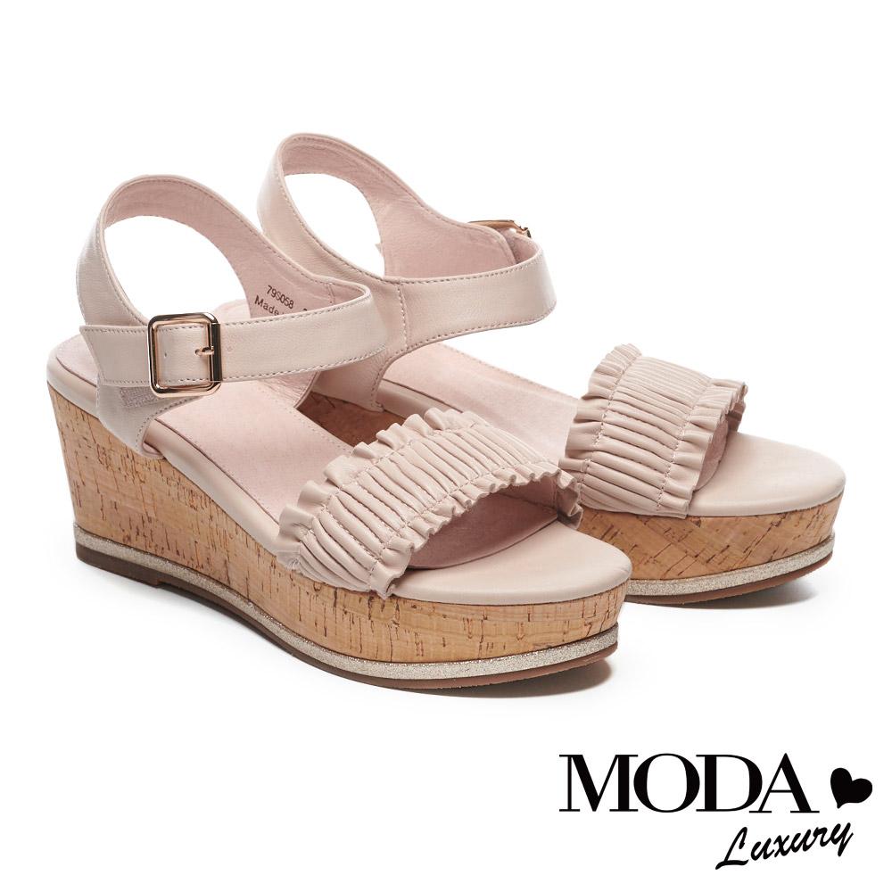 涼鞋 MODA Luxury 輕甜抓皺一字帶設計羊皮楔型涼鞋-粉