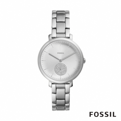 FOSSIL JACQUELINE 銀色鑲鑽不鏽鋼手錶(ES4437)-36mm