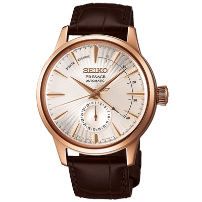 SEIKO 精工 Presage典藏真皮機械手錶SSA346J1-玫瑰金X咖啡/40mm