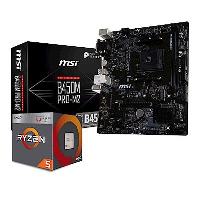 微星B450M PRO M2+AMD Ryzen5 2400G套餐組