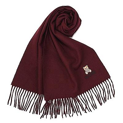 MOSCHINO 經典刺繡TOY小熊羊毛圍巾-酒紅色