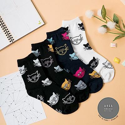 阿華有事嗎 韓國襪子 個性滿版貓咪中筒襪 韓妞必備長襪 正韓百搭純棉襪