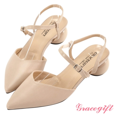 Grace gift-素面尖頭造型圓跟鞋 杏