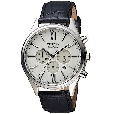 CITIZEN星辰經典雅痞光動能計時腕錶(CA4410-17A)-銀